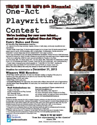 Theatre In the Raw's 11th Biennial One-Act Play Writing